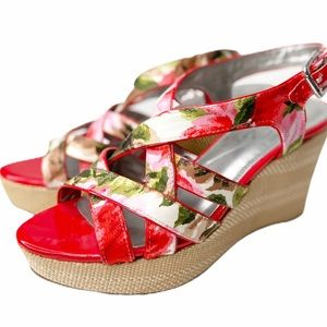 """Marc Fisher """"Gleena3"""" strappy floral wedges"""